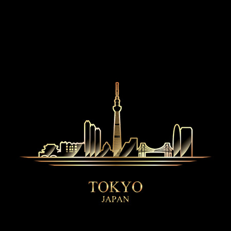 gold silhouette: Gold silhouette of Tokyo on black background, vector illustration