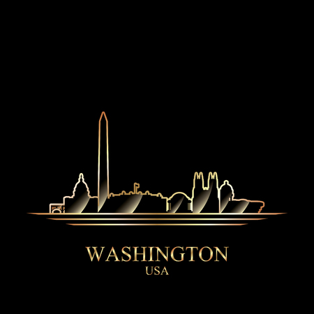 gold silhouette: Gold silhouette of Washington on black background, vector illustration