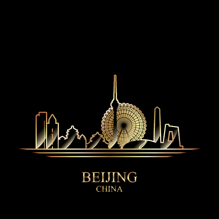 gold silhouette: Gold silhouette of Beijing on black background, vector illustration Illustration