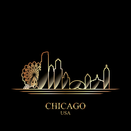 gold silhouette: Gold silhouette of Chicago on black background, vector illustration