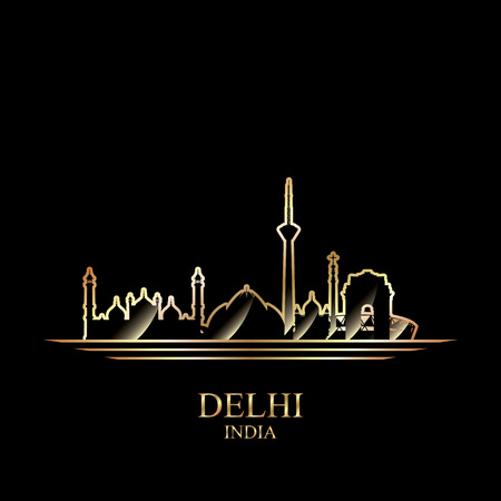 gold silhouette: Gold silhouette of Delhi on black background, vector illustration Illustration