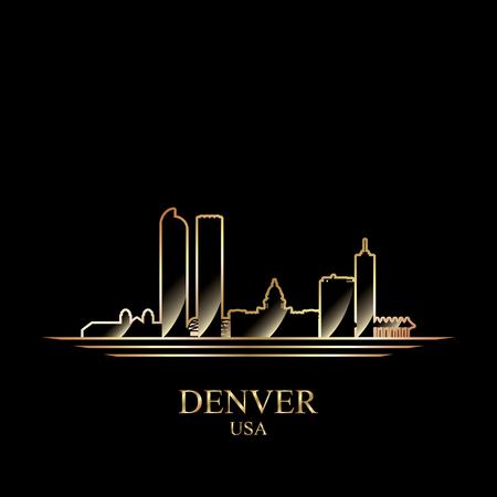 detailed: Gold silhouette of Denver on black background, vector illustration