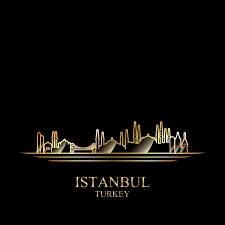turkey istanbul: Gold silhouette of Istanbul on black background, vector illustration Illustration