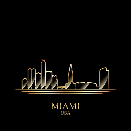 gold silhouette: Gold silhouette of Miami on black background, vector illustration Illustration