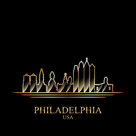 gold silhouette: Gold silhouette of Philadelphia on black background, vector illustration