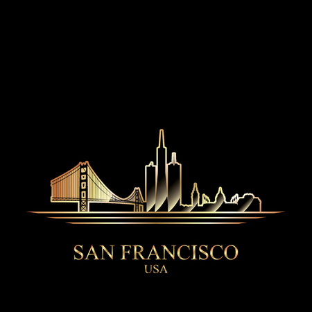 gold silhouette: Gold silhouette of San Francisco on black background, vector illustration Illustration