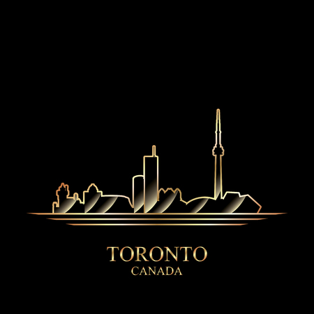 gold silhouette: Gold silhouette of Toronto on black background, vector illustration Illustration