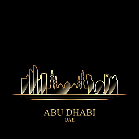 gold silhouette: Gold silhouette of Abu Dhabi on black background, vector illustration