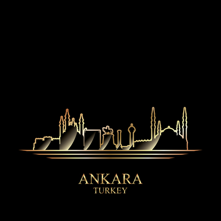 gold silhouette: Gold silhouette of Ankara on black background, vector illustration