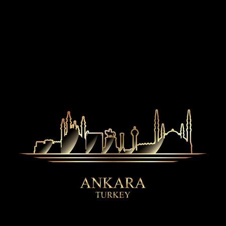 coast: Gold silhouette of Ankara on black background, vector illustration