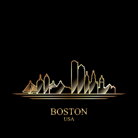 gold silhouette: Gold silhouette of Boston on black background, vector illustration