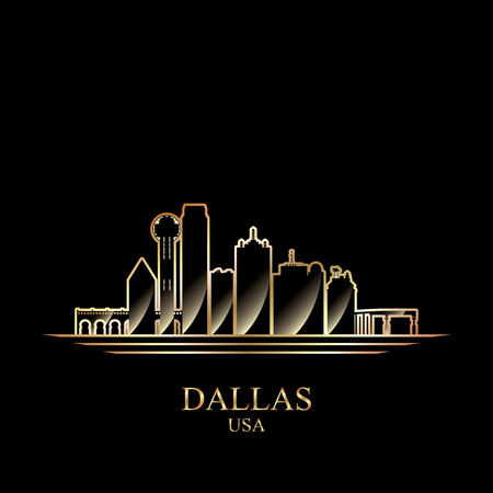 gold silhouette: Gold silhouette of Dallas on black background, vector illustration Illustration