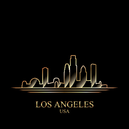 gold silhouette: Gold silhouette of Los Angeles on black background, vector illustration