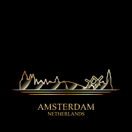 gold silhouette: Gold silhouette of Amsterdam on black background, vector illustration Illustration