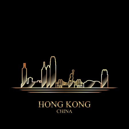 gold silhouette: Gold silhouette of Hong Kong on black background, vector illustration