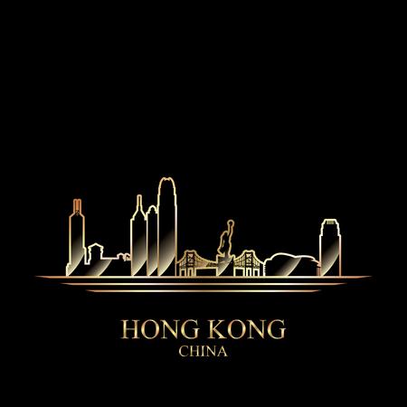 hong kong: Gold silhouette of Hong Kong on black background, vector illustration
