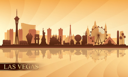 Las Vegas city skyline silhouette background, vector illustration Vettoriali