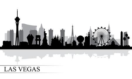 Las Vegas skyline della città silhouette sfondo, illustrazione vettoriale Archivio Fotografico - 62314210