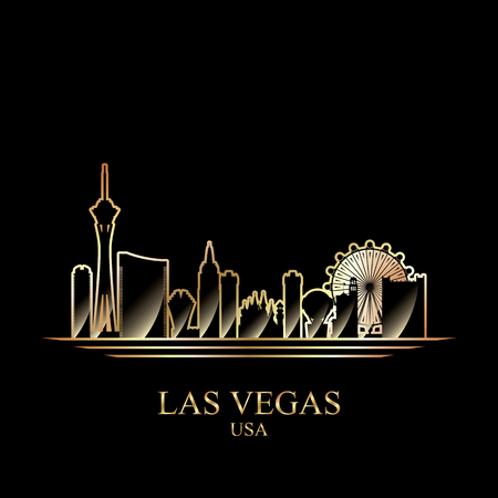 Gold silhouette of Las Vegas on black background, vector illustration