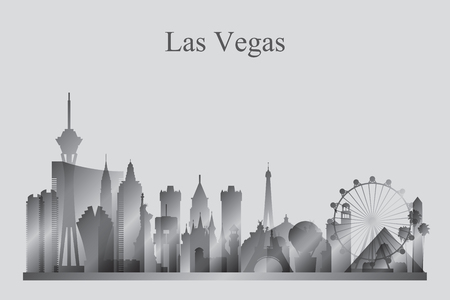 Las Vegas city skyline silhouette in grayscale, vector illustration