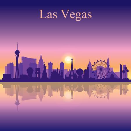 Las Vegas Skyline Silhouette auf Sonnenuntergang Hintergrund, Vektor-Illustration Standard-Bild - 62314216