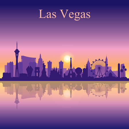 Las Vegas skyline silhouette on sunset background, vector illustration