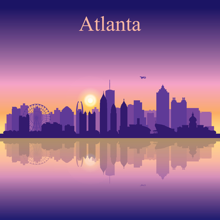 Atlanta silhouette on sunset background, vector illustration