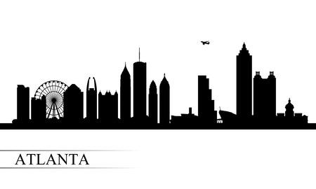 Atlanta stad skyline silhouet achtergrond, vector illustratie Stock Illustratie