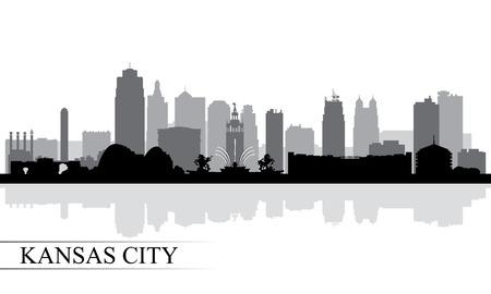 Kansas City skyline silhouet achtergrond, vector illustratie