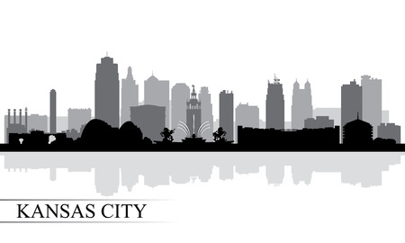 Kansas City skyline silhouette background, vector illustration Vettoriali