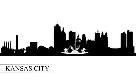 カンザス シティ スカイライン シルエット背景、ベクトル イラスト
