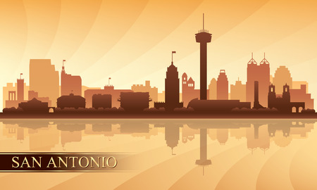 San Antonio city skyline silhouette background, vector illustration  イラスト・ベクター素材