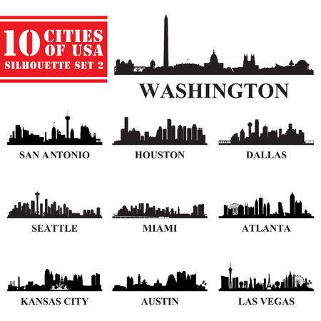 Silhouetten Steden van de VS Set 2. Vector illustratie Stock Illustratie