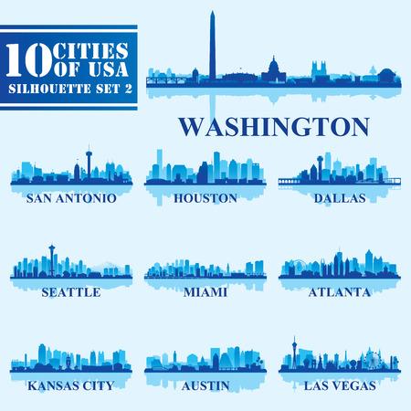 青の背景に米国設定 2 のシルエットの都市。ベクトル図