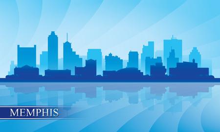 Memphis city skyline silhouette background, vector illustration