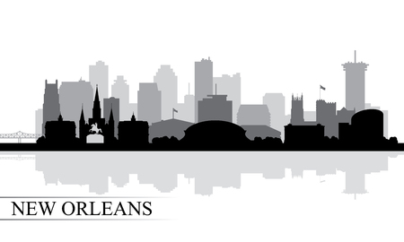 New Orleans city skyline silhouette background, vector illustration