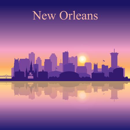 New Orleans silhouette on sunset background vector illustration Stock Vector - 76711037