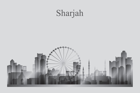 Sharjah city skyline silhouette in grayscale, vector illustration.