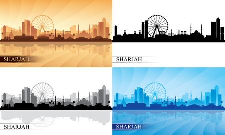 Sharjah city skyline silhouettes Set, vector illustration