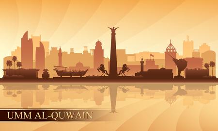 Umm al-Quwain city skyline silhouette background, vector illustration Illustration