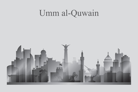 Umm al-Quwain city skyline silhouette in grayscale, vector illustration Illustration