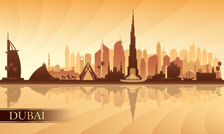 Dubai city skyline silhouette background, vector illustration