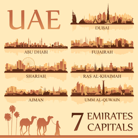 All the capital cities of the United Arab Emirates, vector illustration