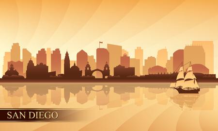 coastal: San Diego city skyline silhouette background, vector illustration
