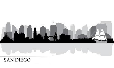 San Diego city skyline silhouette background, vector illustration