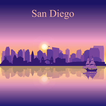 San Diego silhouette on sunset background, vector illustration Çizim