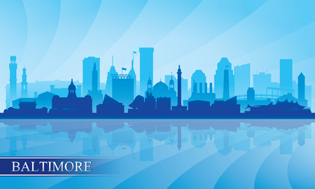 Baltimore city skyline silhouette background, vector illustration Ilustracja