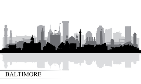 Baltimore city skyline silhouette background, vector illustration Çizim
