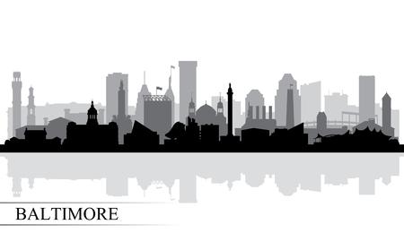 Baltimore Skyline der Stadt Silhouette Hintergrund, Vektor-Illustration Standard-Bild - 84326411