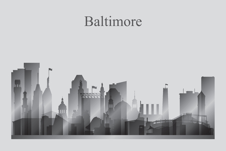 Baltimore city skyline silhouette in grayscale vector illustration Ilustrace